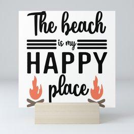 The Beach is My Happy Place Mini Art Print