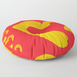 Gold Hearts on Red Floor Pillow