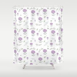 Pink Peonies With Botanical Shower Curtain