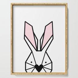 Bunny Portrait Poster, geometric bunny, peekaboo animals, nursery Serving Tray