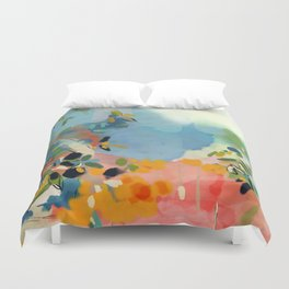 garden with sea view and olive tree Duvet Cover