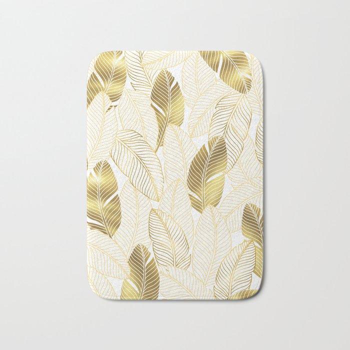 Gold tropical leaves pattern Bath Mat