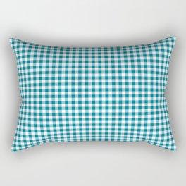 Mosaic Blue Gingham Check Rectangular Pillow