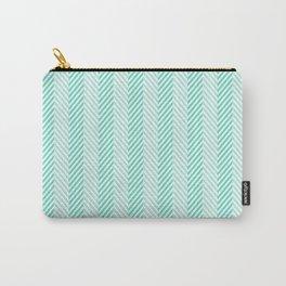 Tiffany Aqua Blue & White Two Tone Herringbone Pattern Carry-All Pouch