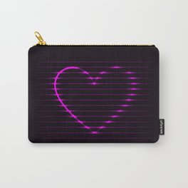 Pink abstract neon glowing lines in a heart shape on a dark background Carry-All Pouch