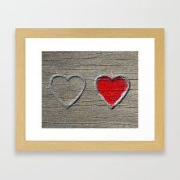 Two Hearts on Wood Framed Art Print