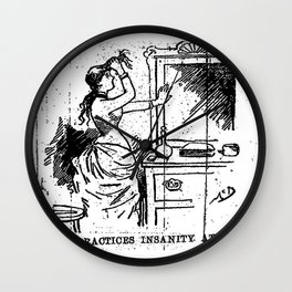 Nellie practices insanity at home. ten days in a madhouse - Nellie Bly Wall Clock