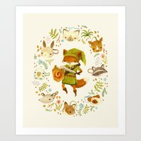 wind Art Prints featuring The Legend of Zelda: Mammal's Mask by Teagan White