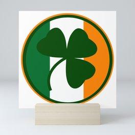 Green and orange Irish logo, shamrock  Mini Art Print