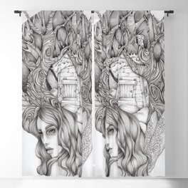 JennyMannoArt GRAPHITE DRAWING/FAIRIE Blackout Curtain
