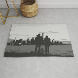 Couple Looking At New York City Skyline Artistic Black And White Rug