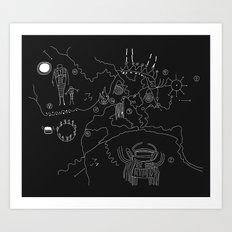 Twin Peaks Owl Cave Map Art Print
