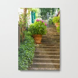 Steps with Flower Pot and gate, Bellagio Metal Print