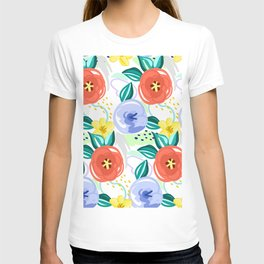 Flowers red pattern T-shirt