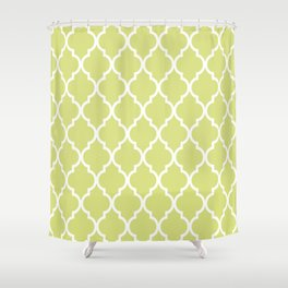 Classic Quatrefoil Lattice Pattern 731 Chartreuse Green Shower Curtain
