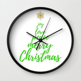 Christmas Tree - Green Gold - Merry Christmas Wall Clock