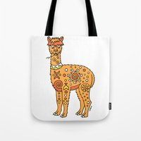 alpaca Tote Bags featuring Alpaca by Peggy Cline