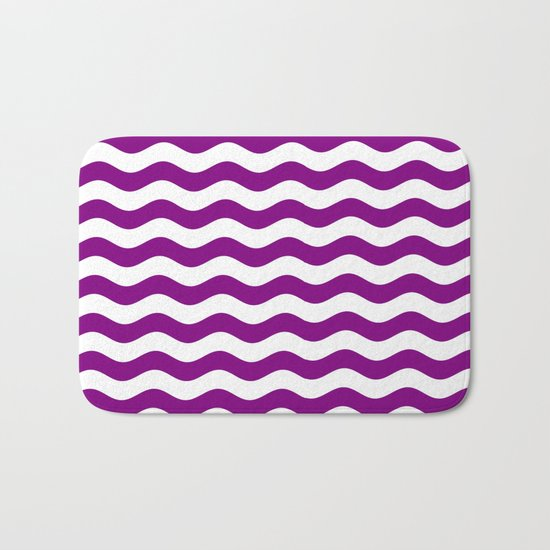 Wavy Stripes (Purple/White) Bath Mat
