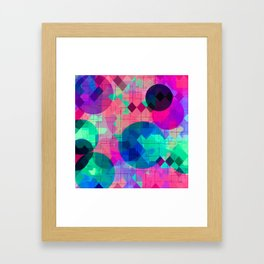 geometric square pixel and circle pattern abstract in pink blue green Framed Art Print