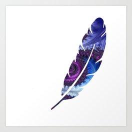Feathery Flow Feather Cutout - Fractal Art Art Print