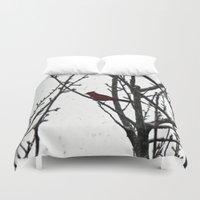 cardinal Duvet Covers featuring Cardinal by Emma Nettles