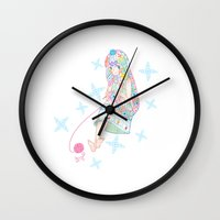knitting Wall Clocks featuring Knitting  by Moonsia