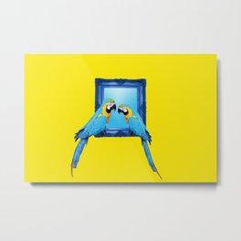 Macaw Bird sitting on frame yellow Metal Print