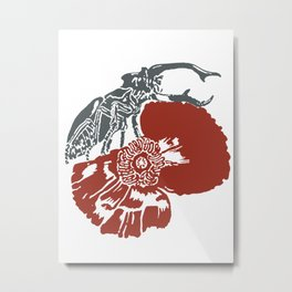 Art Nouveau Beetle & Poppy by Seasons K Designs Metal Print