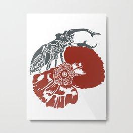 Art Nouveau Beetle & Poppy by Seasons K Designs Metal Print