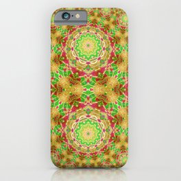 Red gold and green kaleidoscopic design iPhone Case