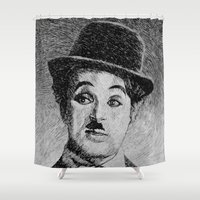 chaplin Shower Curtains featuring Chaplin portrait - Fingerprint by Nicolas Jolly