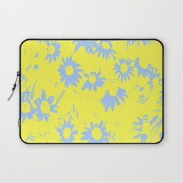 Blue Coneflowers with Yellow Background Laptop Sleeve