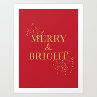 Merry and bright in red and gold Art Print