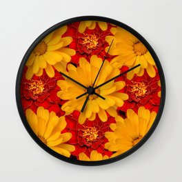A Medley of Red and Yellow Marigolds Wall Clock