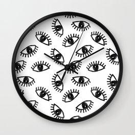 Eyes linocut black and white minimal eyes carving pattern Wall Clock