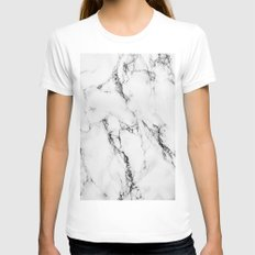 Marble #texture White MEDIUM Womens Fitted Tee