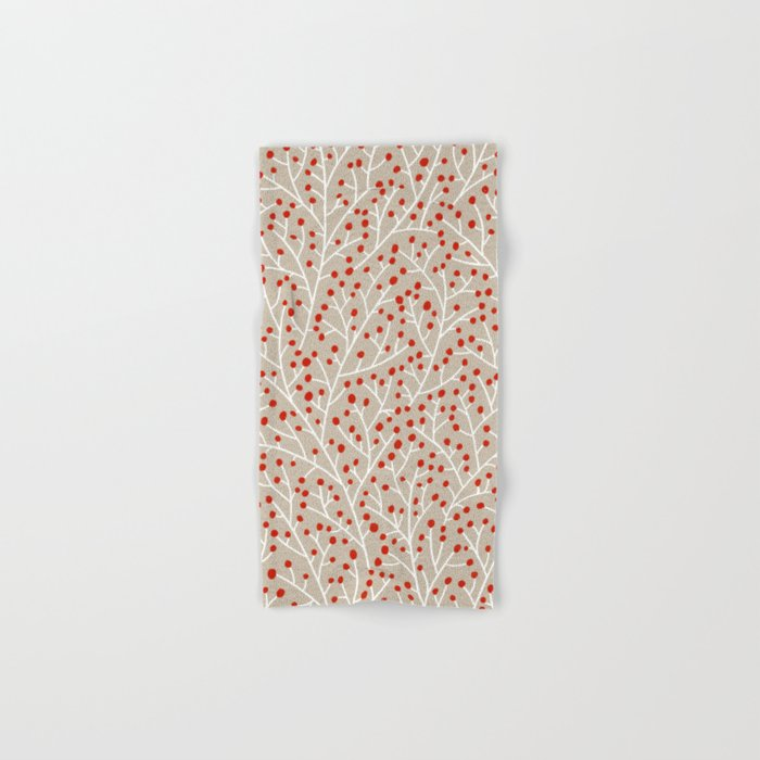 Red & White Berry Branches Hand & Bath Towel