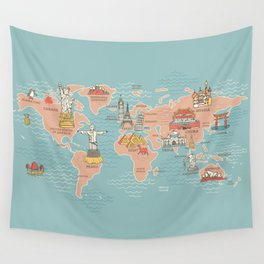 World map cartoon style art print by anukunhamala society6 world map cartoon style wall tapestry gumiabroncs Images