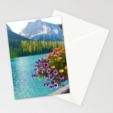 Floral basket, mountain and blue lake Stationery Cards