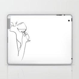dame ivre-Girl with wine glass printable line art print Nude Woman Line body art Illustration erotic Laptop & iPad Skin