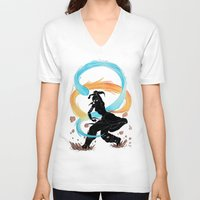 legend of korra V-neck T-shirts featuring The Legend of Korra Stencil by Brietron Art