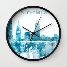 Cleveland Ohio Monochrome Blue Skyline Wall Clock