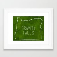 gravity falls Framed Art Prints featuring Gravity Falls by pondlifeforme