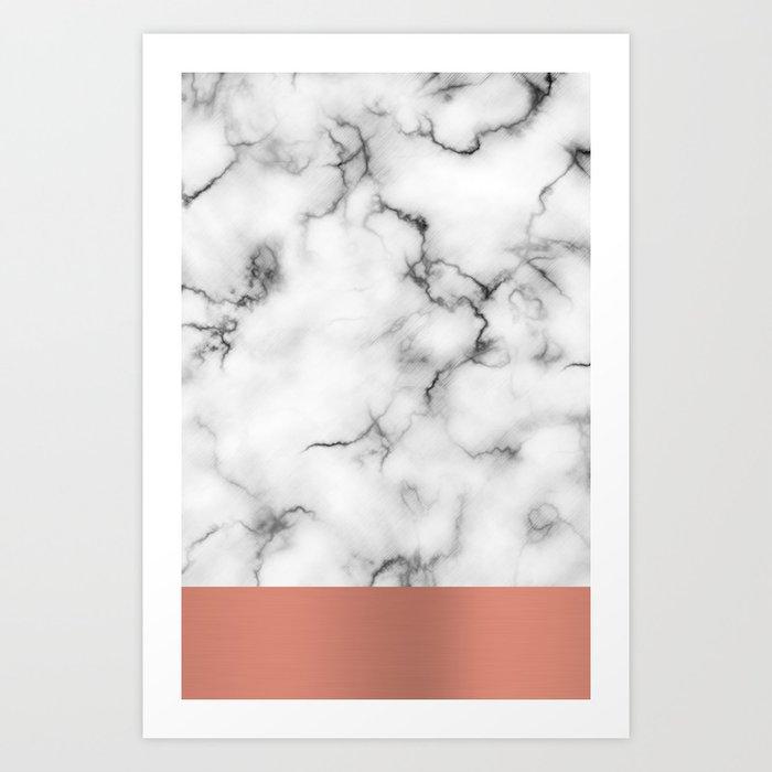 Marble & copper Art Print