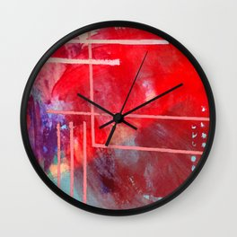 Jubilee: a vibrant abstract piece in reds and pinks Wall Clock