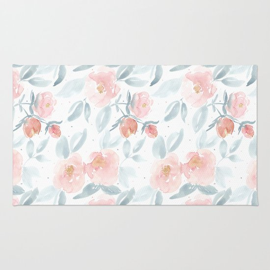 Soft Pink Watercolour Roses Rug