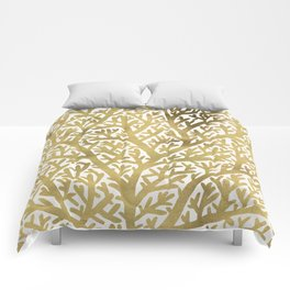 Gold Fan Coral Comforters
