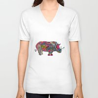 rhino V-neck T-shirts featuring Rhino by Green Girl Canvas