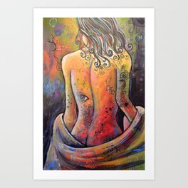 Abstract Art Original Nude Woman Girl Painting ... The Company You Keep Art Print