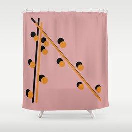 Mustard on Black Globular and line Shower Curtain